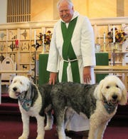 The Rev. Canon Dr. Tom Lowe, rector at St. John's Episcopal Church in Alamogordo stands with his Old English Sheepdogs Gracie, left, and Winston, right, before the church's annual Blessing of the Animals Sunday.