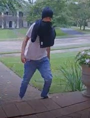 Another view of a suspect wanted for stealing a package from a front porch in Bloomfield Township.