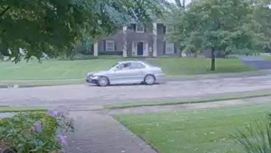 Security video photo of a car driven by a suspect wanted for stealing packages from a Bloomfield Township porch.