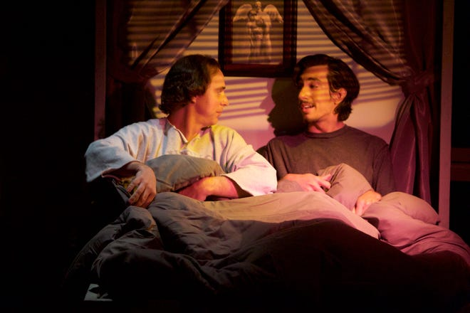 """Nick Edwards plays """"Prior Walter"""" and Daniel Gutierrez portrays """"Louis"""" in """"Angels in America - Part 1, Millennium Approaches"""" at the Desert Rose Playhouse."""