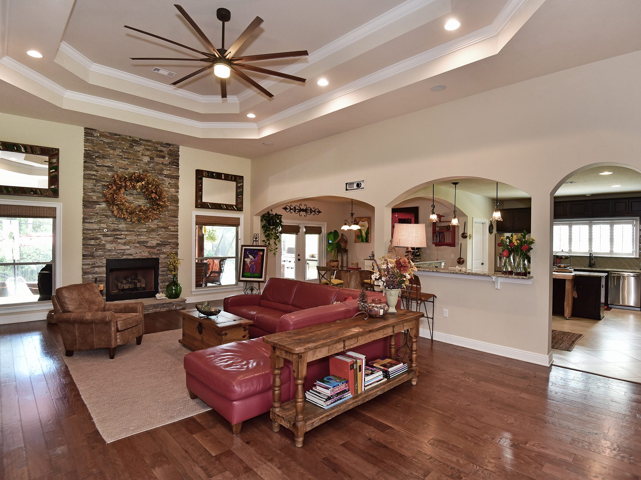 8811 Salt Grass Drive, the living area is open and inviting.