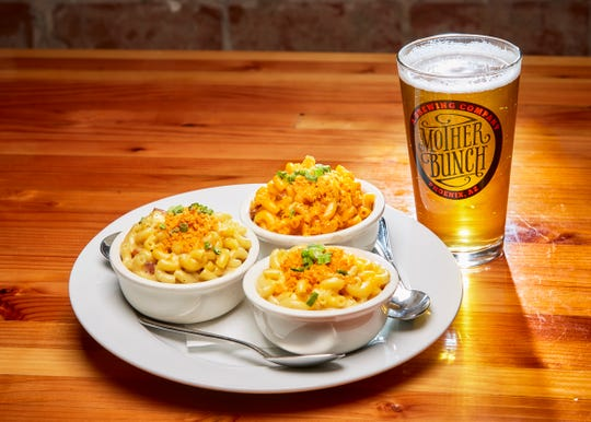The Beer Mac Trio at Mother Bunch Brewing includes three types of house-made macaroni and cheese including classic,  bacon bleu cheese and sriracha tri tip.