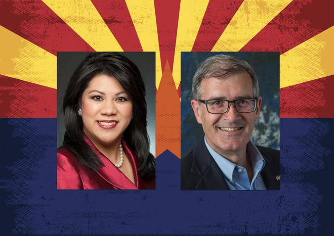 Candidates for state treasurer Republican Kimberly Yee (left) and Democrat Mark Manoil.
