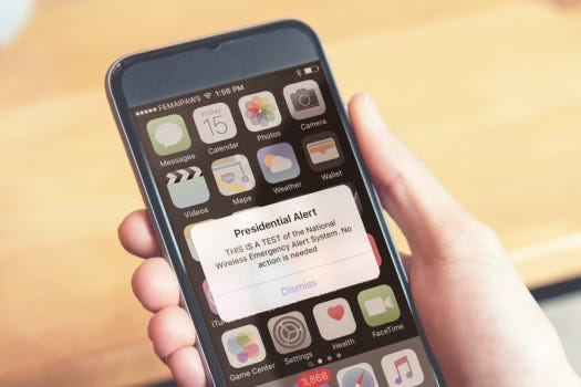 Photo of what the Presidential Alert will look like