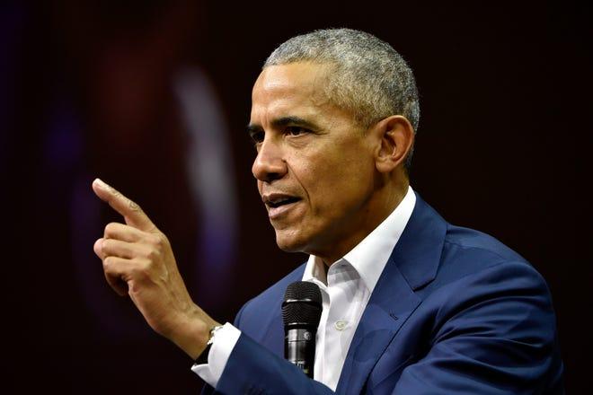 Former President Barack Obama attends the Nordic Business Forum in Helsinki, Finland, on Sept. 27, 2018.