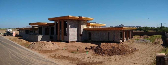 A home in Chandler is being built following Wright's Usonian principles. The term refers to a type of single-story family home designed by Wright starting in the mid-thirties with the Willey House. These homes are characterized by flat roofs, the use of natural lighting and clerestory windows, to name just a few.