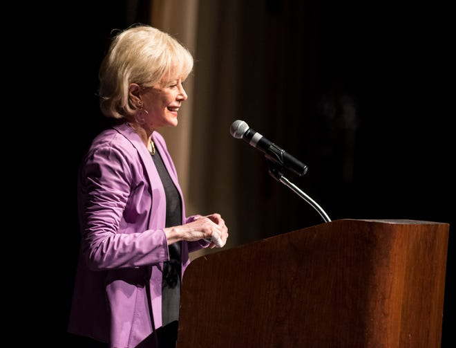 Journalist Lesley Stahl speaks at the Port Huron Town Hall lecture series Monday, Oct. 1, 2018 at McMorran Theatre.