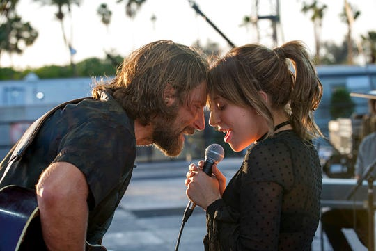 "Bradley Cooper, left, and Lady Gaga star the latest reboot of ""A Star is Born."" The movie opens Thursday at Regal West Manchester Stadium 13 and R/C Hanover Movies."