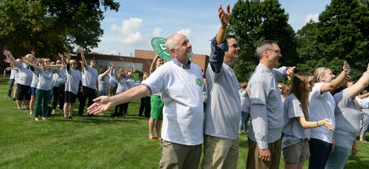 """York College community members align for a """"50"""" formation during the school's 50th Anniversary Kick-Off Party for the campus community Monday, Oct. 1, 2018. Several anniversary events are planned during the week. Bill Kalina photo"""