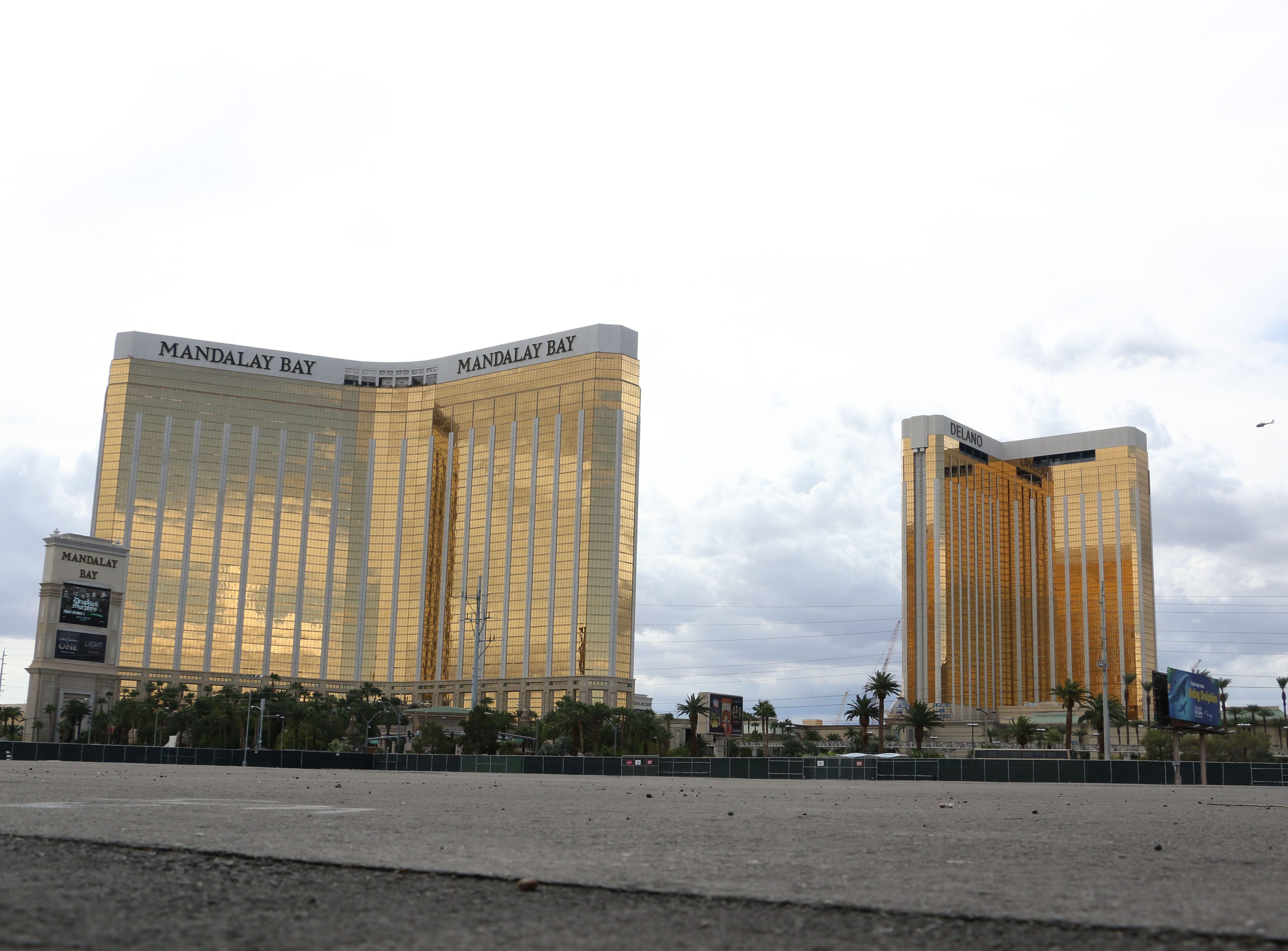 The Route 91 Harvest Festival concert grounds are seen below the Mandalay Bay as Las Vegas remembers the mass shooting one year later on Oct. 1, 2018.