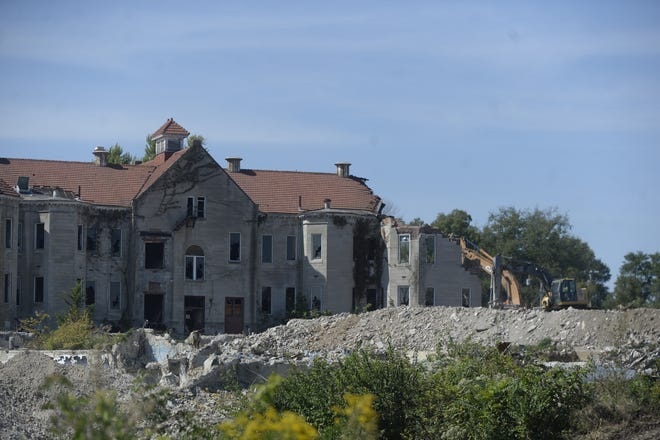 The oldest section of the former Reid Hospital campus along Chester Boulevard in Richmond is the last to come down.