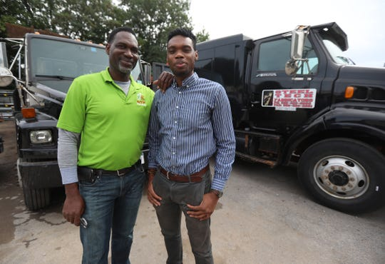 Terence Brown Sr. and TJ Brown at Steel Tech Fabricators on Conkey Avenue in Rochester.