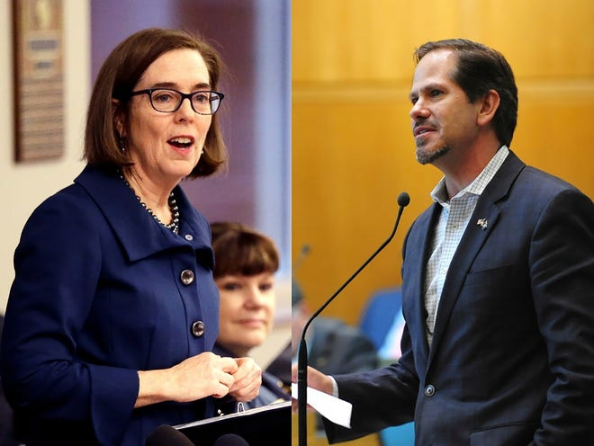 Oregon gubernatorial candidates, Democratic incumbent Gov. Kate Brown, left and Republican challenger Knute Buehler, right.