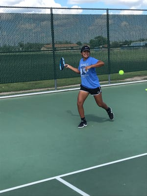 Lake View's Alaysia Capuchina prepares to return the ball during practice at Lake View's Brandon Clark Tennis Facility.