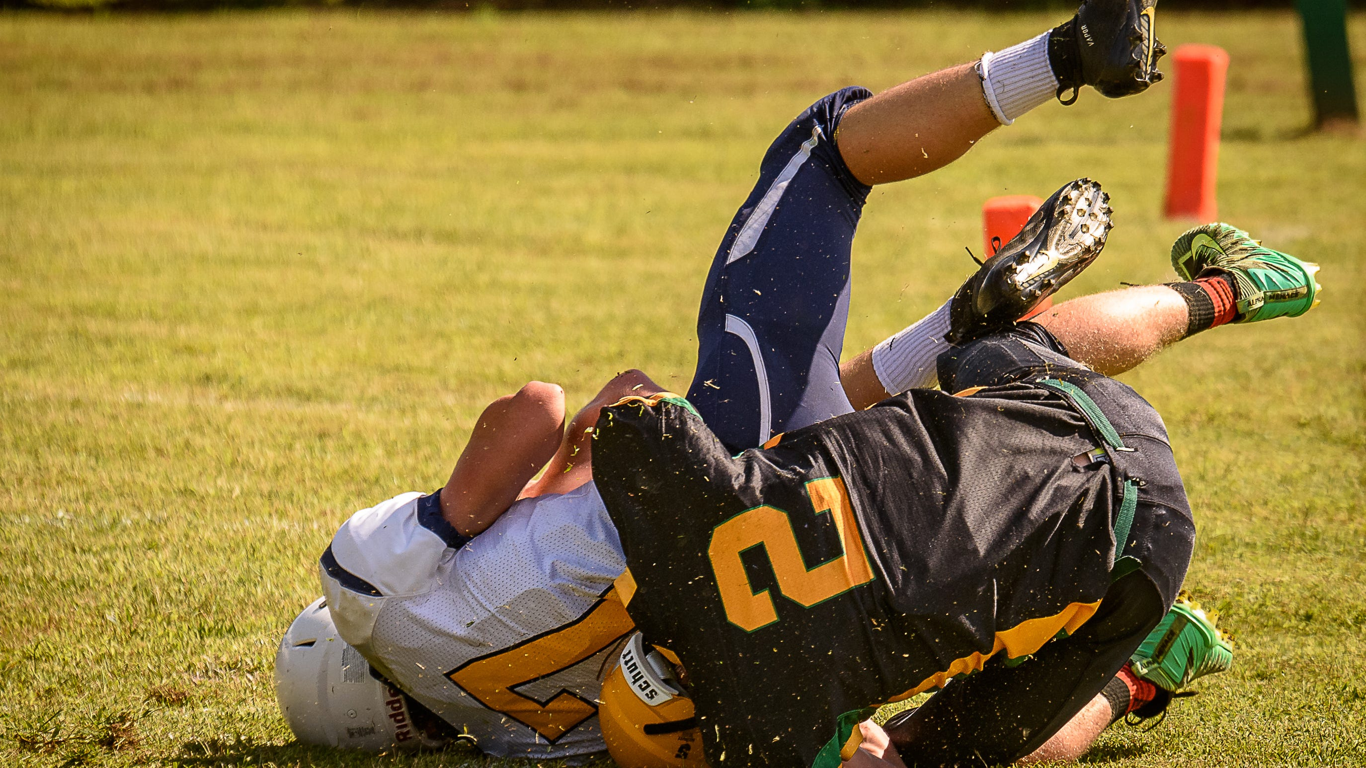 Chincoteague's Wes Britton is tackled by  Finn Kelly of Broadwater.