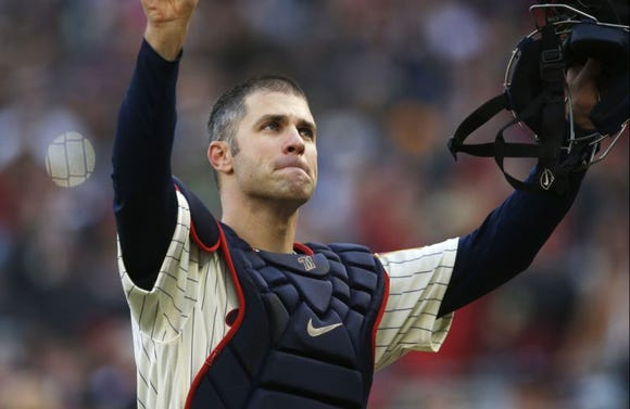 Joe Mauer returned to catcher for one pitch on Sunday in what may have been his final game