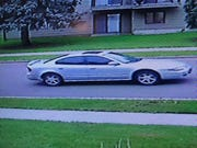 A surveillance still image of a car driven by a suspect in the Empire Casino robbery in Sioux Falls.