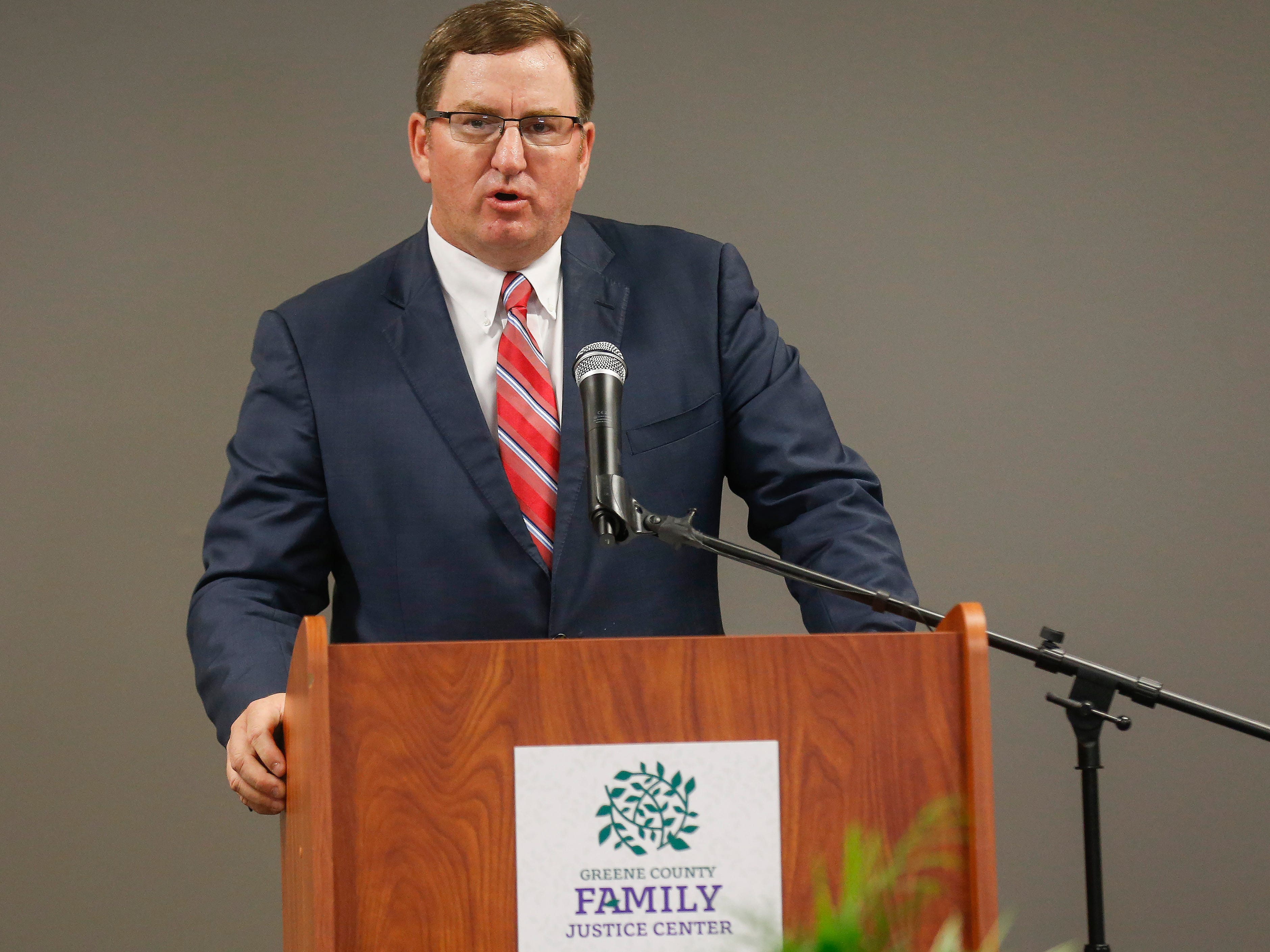 Greene County Prosecuting Attorney Dan Patterson speaks during the ribbon cutting ceremony for the Family Justice Center on Monday, Oct. 1, 2018.