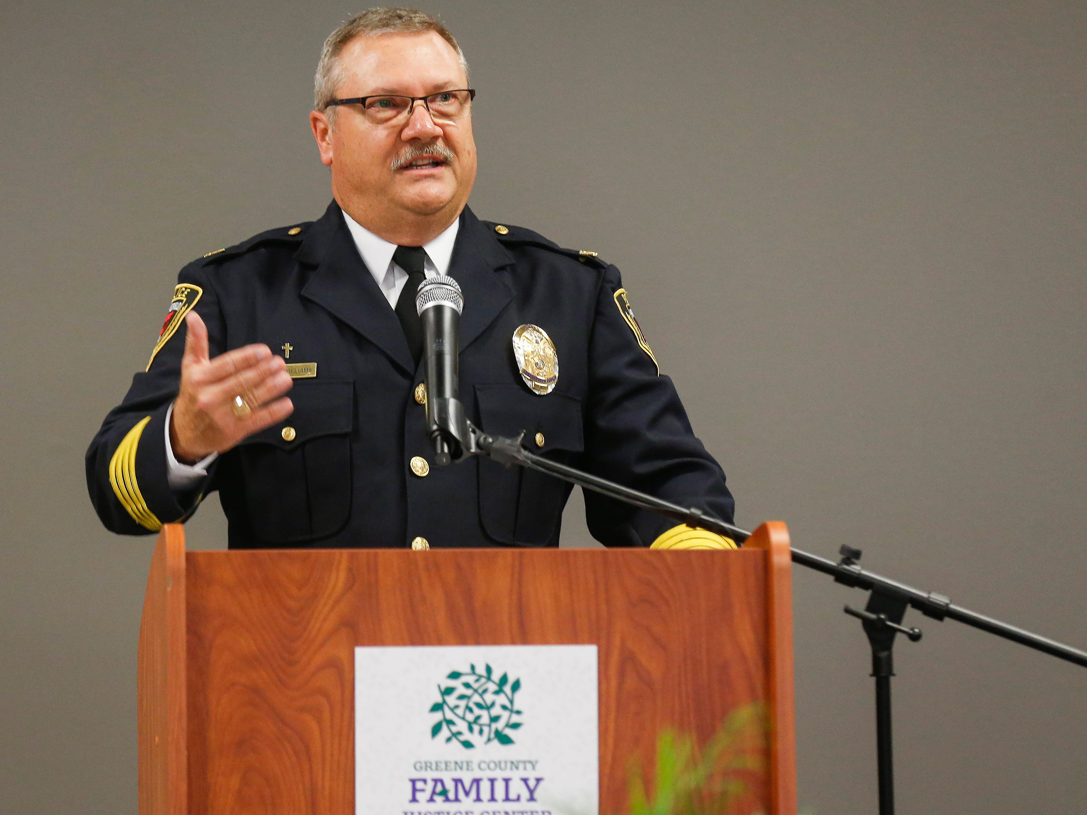 Springfield Police Chief Paul Williams speaks during the ribbon cutting ceremony for the Family Justice Center on Monday, Oct. 1, 2018.