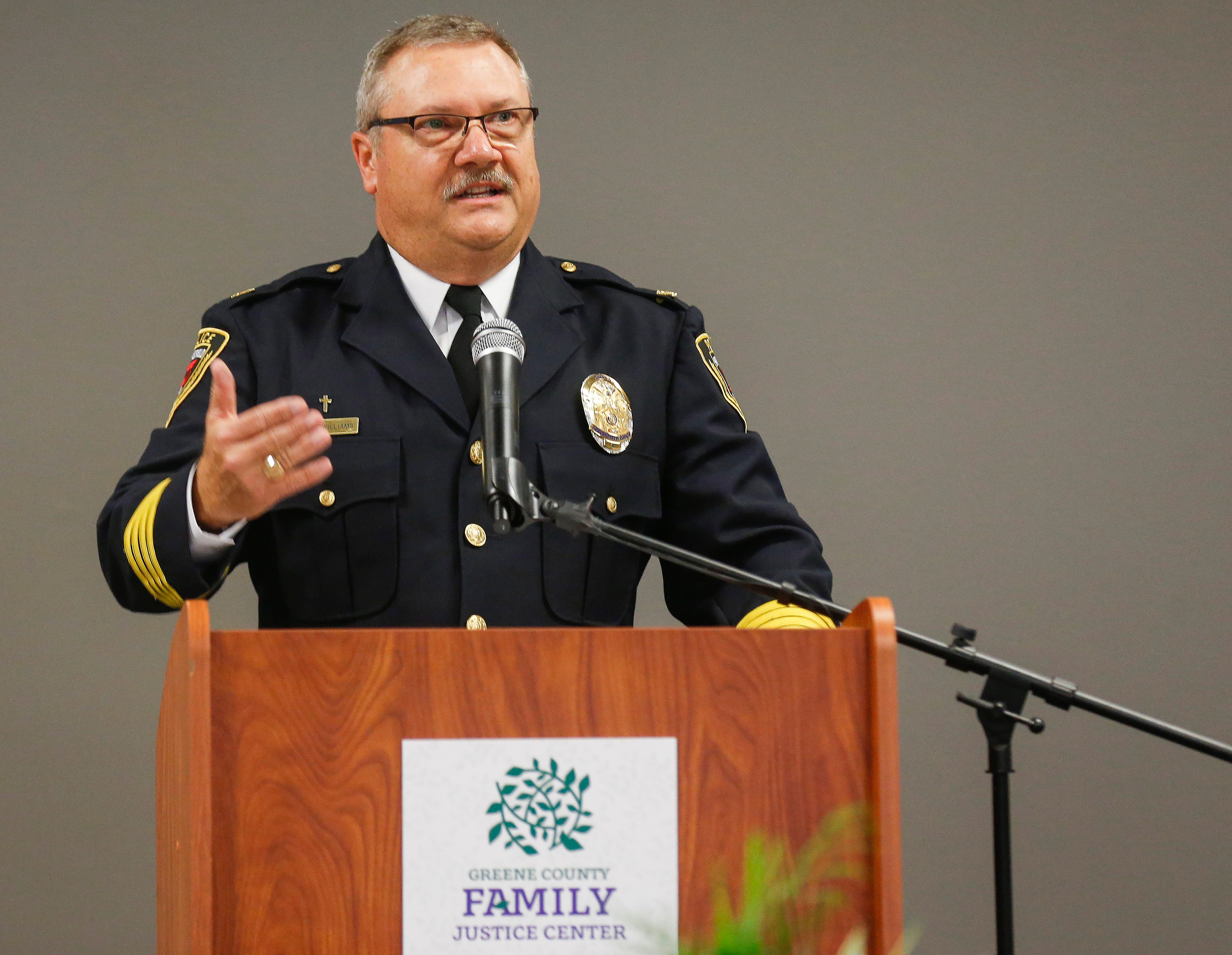 Springfield Police Chief Paul Williams speaks at the Family Justice Center on Monday, Oct. 1, 2018.