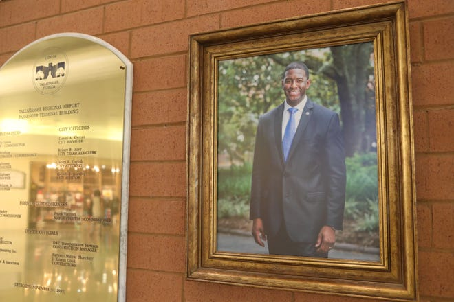 A nameplate showing the misspelled name of Tallahassee Mayor Andrew Gillum at the Tallahassee International Airport has been removed Monday, Oct. 1, 2018.