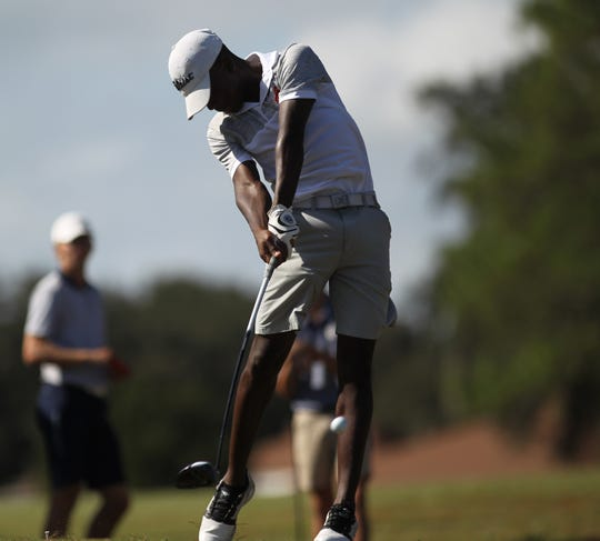 Leon junior Marquis Taylor hits a drive during the boys golf City Championship at Hilaman Golf Course on Monday, Oct. 1, 2018. Taylor shot a 1-under par 71 to tie for second.