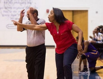 After guiding St. Lucie West Centennial's girls basketball team to 33 wins over the past two seasons, Jamarra Robinson (right) has been named Indian River State College women's basketball coach.