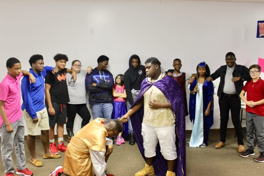"""Partial cast from E.N.D. It! """"A Wedding Knight To Remember,"""" from left,  Josiah Westberry, Emmanuel Murray, Jayden Westberry, Cerena Westberry, Eric Howard, Luz Gahn-Torres, Brandon Jerger, Uriah Williams, Sinclair DuPree, Hezekiah Dulcio, Pedro Gahn-Torres, and in front,  Jayden Maynard and Justin Bailey."""