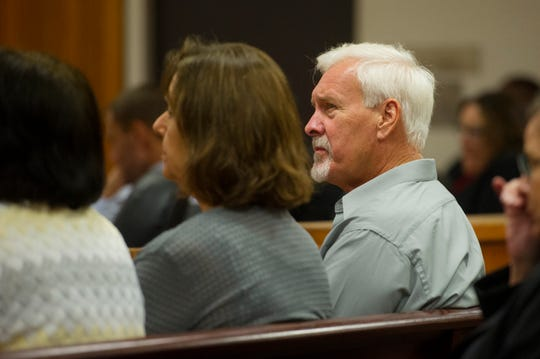 Mike Hadley, uncle to Tyler Hadley who was convicted of murdering his parents in 2011, sits in court Monday, Oct. 1, 2018 during a resentencing hearing for Tyler Hadley at the St. Lucie County Courthouse in Fort Pierce.