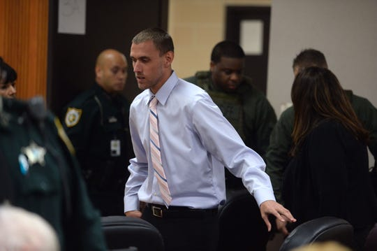 Juvenile killer Tyler Hadley appears before St. Lucie County Judge Gary Sweet for the first day of a resentencing hearing on Monday, Oct. 1, 2018 at the St. Lucie County Courthouse in Fort Pierce. Hadley, 24, was convicted four years ago in the July 16, 2011, beating deaths of his parents, mother Mary Jo, 47, and father Blake Hadley, 54.