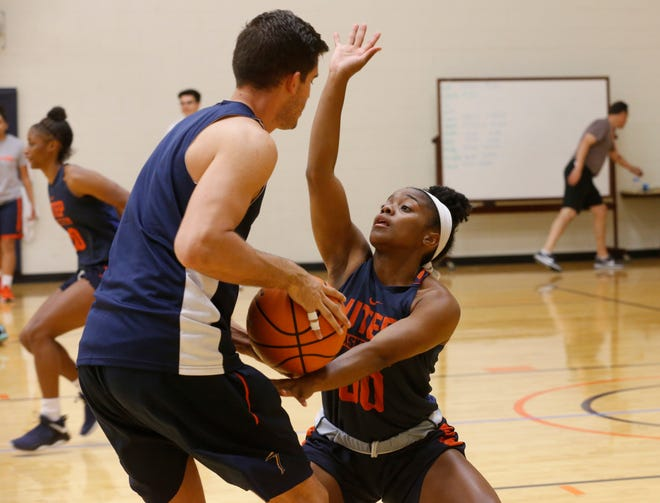 Jordan Jenkins, a sophomore point guard, applies the defense during drills as the team holds its first day of practice to kick off the 2018-19 season. Practice got into full swing shortly after UTEP women's basketball head coach Kevin Baker called his team to center court for a last minute pep talk.