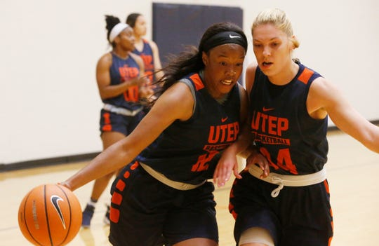 Katrina Zec applies the defensive pressure on Ariona Gill during the first day of practice for the UTEP women's basketball program under second year head coach Kevin Baker.
