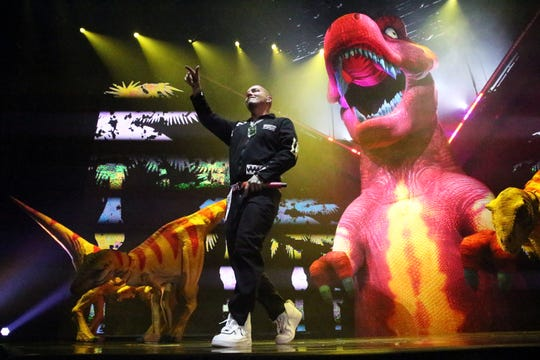 Reggaeton singer J Balvin is surrounded by dinosaurs on stage during his Sunday night show at the Don Haskins Center. Balvin, whose real name is Jose Alvaro Osorio Balvin is currently on his Vibras tour 2018. The native of Colombia moved to the U.S. as a teenager. Later he returned to Medellin, Colombia and established himself there as a performer at local clubs. An excited crowd of mostly young people vocalized his first two numbers amid a visual feast of light, dinosaurs, fog and dancers on stage.