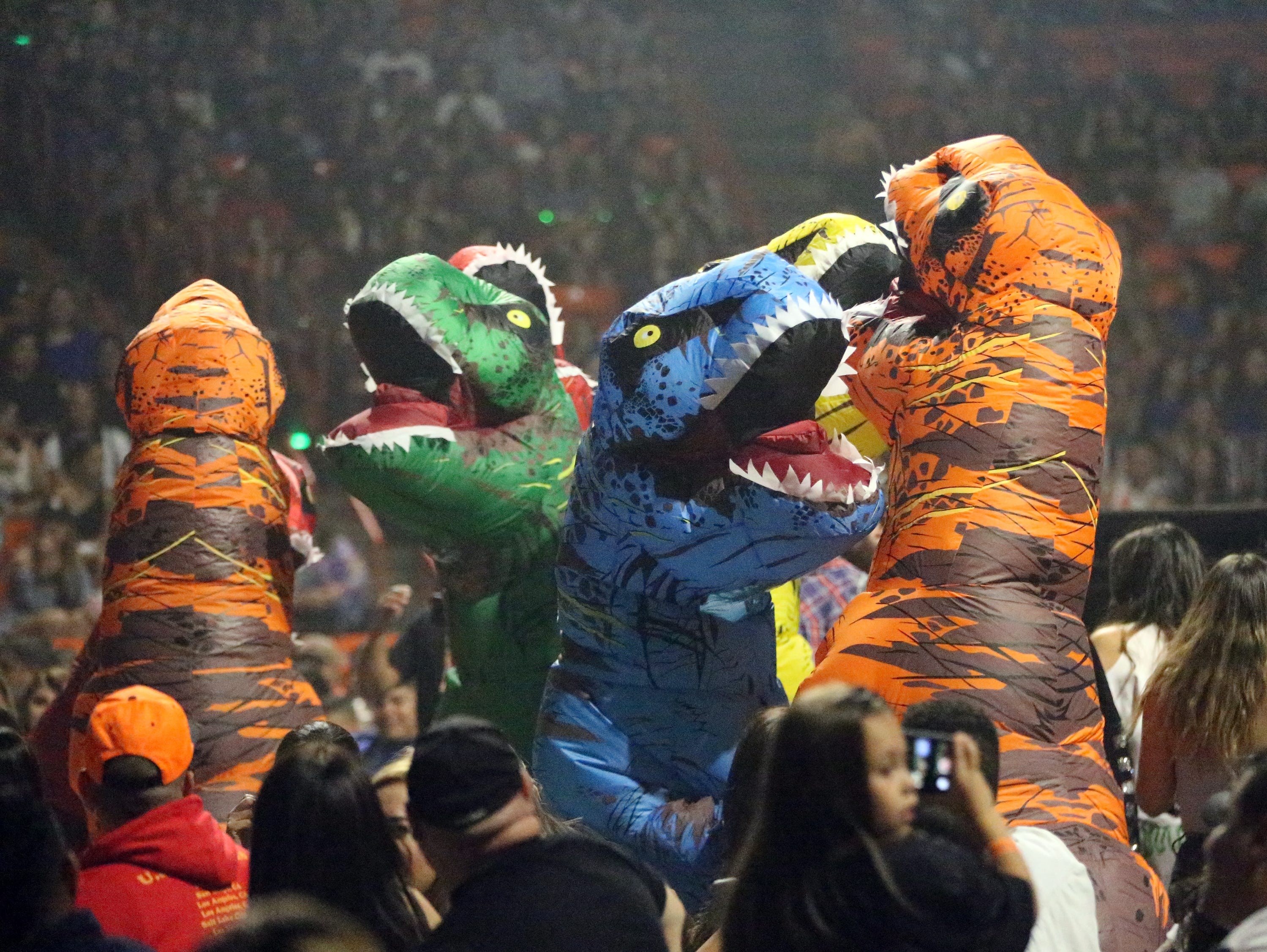 Dinosaurs ruled the floor of the Don Haskins Center prior to the start of the J Balvin show Sunday night.