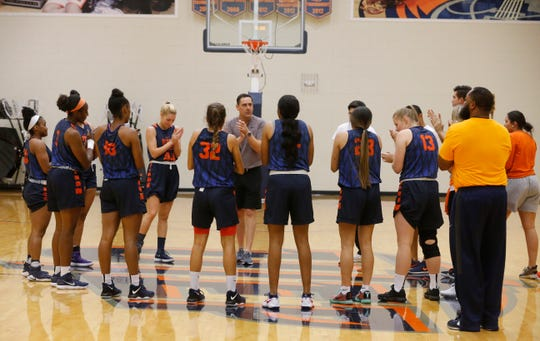 After some stretching and running drills UTEP women's basketball head coach Kevin Baker calls his team to center court for a last m i nute pep talk and then practice got into full swing on the first day of practice for the 2018-19 edition onf the UTEP Women's basketball team.
