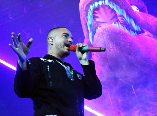 Reggaeton singer J Balvin was surrounded by dinosaurs on stage during his 2018 show at the Don Haskins Center.