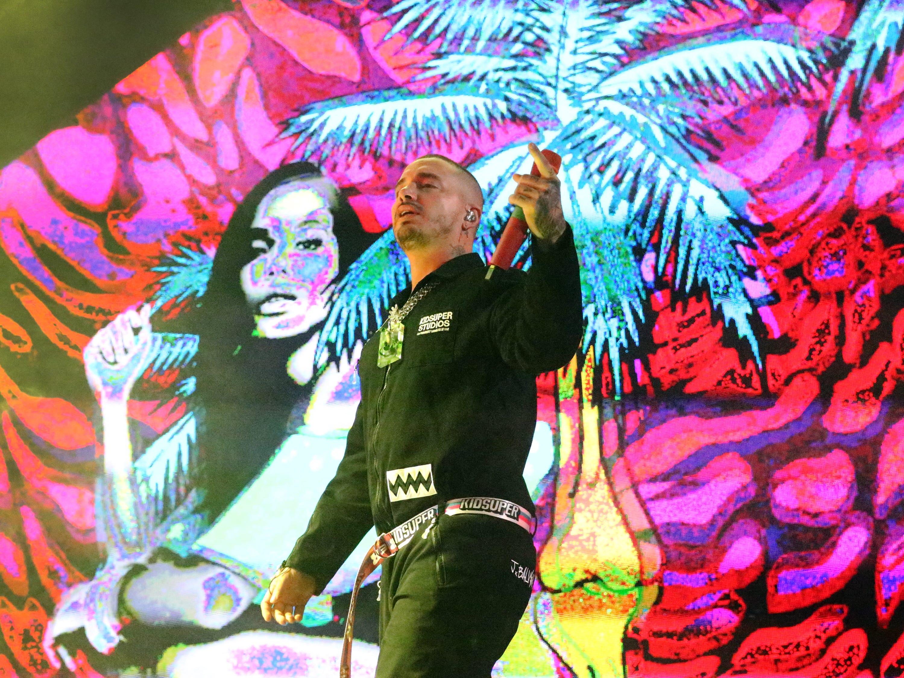 Reggaeton singer J Balvin on stage during his Sunday night show at the Don Haskins Center.