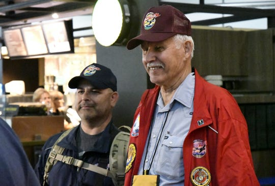 Veteran Gordon Bell, 81 of Visalia, waits to board a plane for the Central Valley Honor Flight 17 trip to Washington D.C. at Fresno Yosemite International Airport on Monday, October 1, 2018.