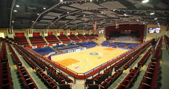 The interior of the Westchester County Center. It is home to the G-League's Westchester Knicks, and is also the site of Section 1's basketball championship week.