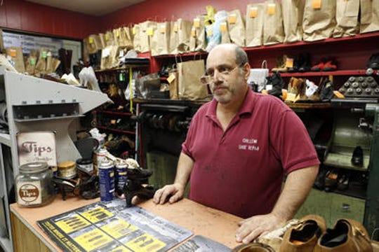 Paul Chillemi, owner of Chillemi Shoe Repair in the White Plains Mall.