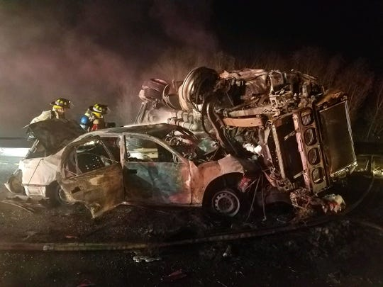 A crash involving a tractor-trailer and a car closed Interstate 84 eastbound in Kent on Oct. 1, 2018.