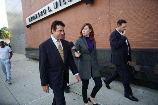 Papa John's founder John Schnatter is questioned by a media outlet as he walked into the New Castle Courthouse on Monday morning to testify in a lawsuit seeking key documents from the pizza chain that ousted him.