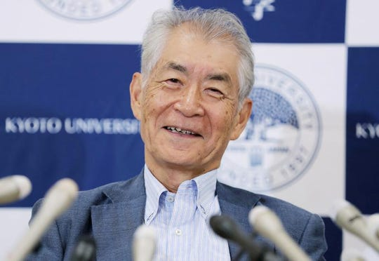 2018 Nobel Medicine Prize winner professor Tasuku Honjo holds a press conference in Kyoto on October 1, 2018.
