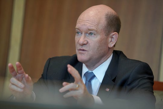 U.S. Senator Chris Coons addresses questions during a delawareonline.com Facebook live in October 2018.