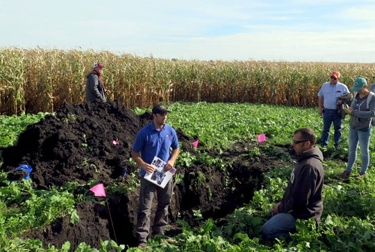 In this Monday, Sept. 24, 2018 photo, Natural Resources Conservation Service soil scientist Myles Elsen, center in blue shirt, stands in a trench to examine the health of the soil on Joel Rauenhorst's farm in Easton, Minn., as part of a soil health field day.
