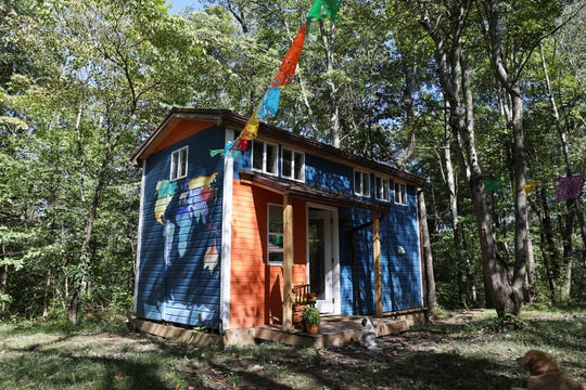 The colorful exterior of the Hand's tiny house near Crooksville.