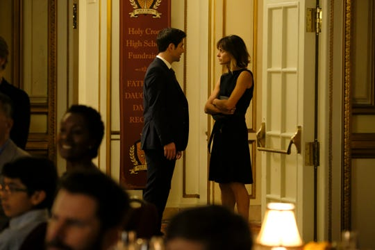 Eddie (David Giuntoli), left, and Delilah (Stephanie Szostak) share a secret on ABC's 'A Million Little Things.'
