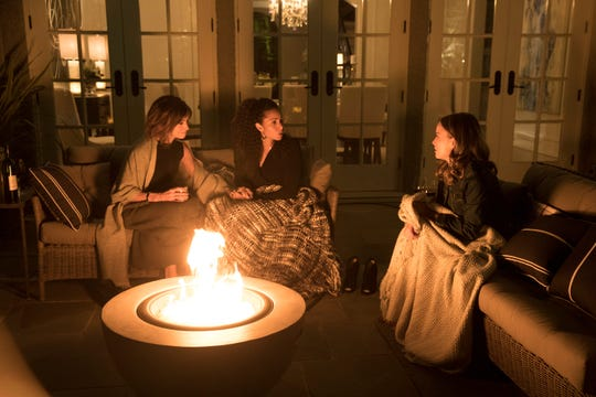 Jon's wife, Delilah (Stephanie Szostak), left, his friend, Regina (Christina Moses), and their new friend, Maggie (Allison Miller), bond after Jon's suicide in ABC's 'A Million Little Things.'