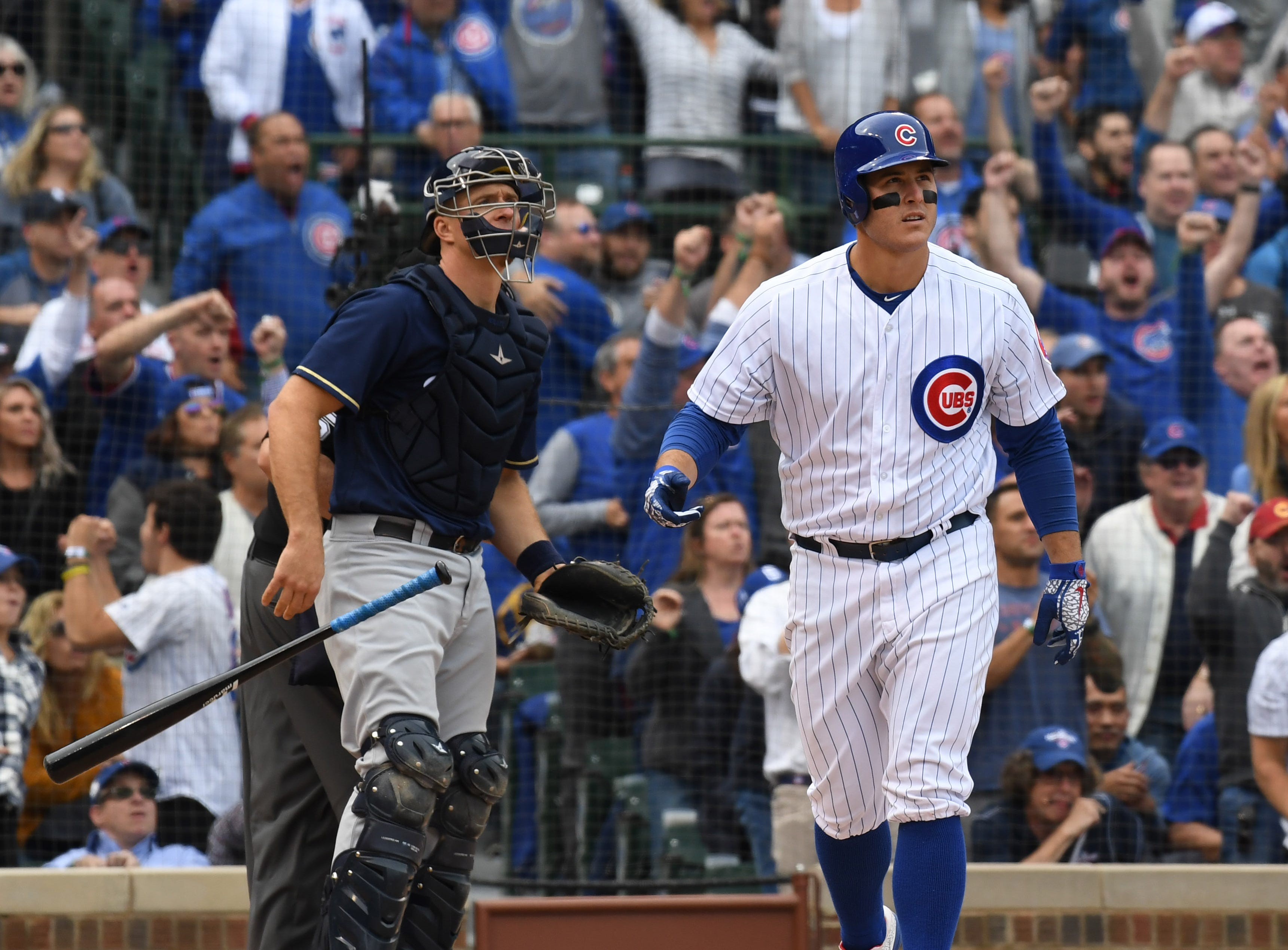 Cubs first baseman Anthony Rizzo watches his solo home run in the fifth inning.