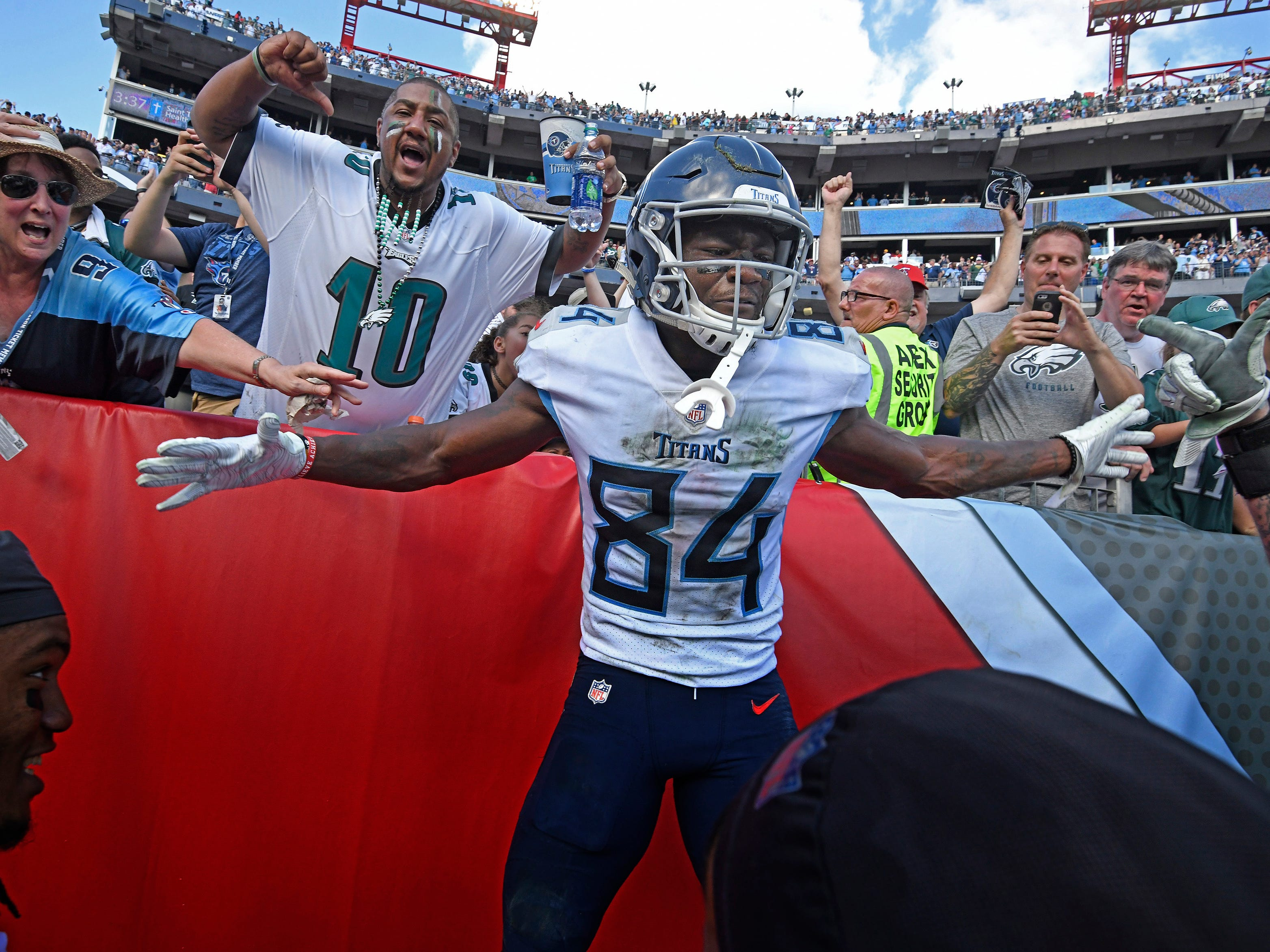 Titans wide receiver Corey Davis  celebrates after catching the game-winning touchdown against the Philadelphia Eagles in overtime.